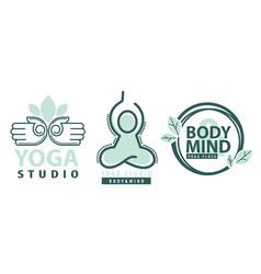 yoga studio mind and body meditation label vector image