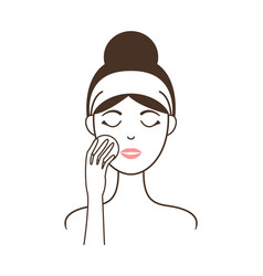 Young girl cleans her face with round cotton pad vector