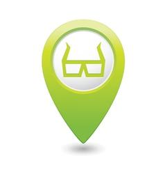 3d cinema glasses icon green pointer vector image