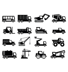 construction transport icons vector image vector image