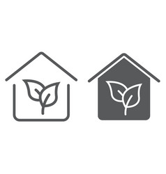 eco house line and glyph icon real estate vector image