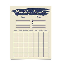 monthly planner template design with grunge vector image
