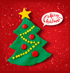 plasticine of christmas tree vector image vector image