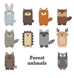 Set of cute forest animals vector image