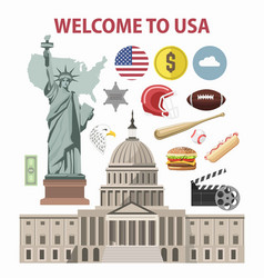 usa travel or america tourism welcome poster vector image