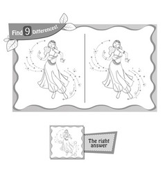 Find 9 differences game dance woman vector