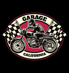 hand drawing style of racing garage badge vector image vector image