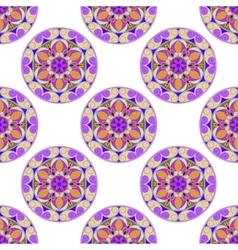 Seamless Lilac Floral Mandala Pattern vector image