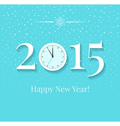 2015 New Years background with clock and snow vector image