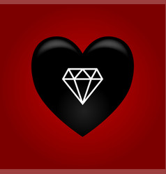 black heart with diamond vector image