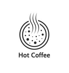 black hot coffee cup logo vector image