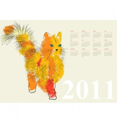 calendar for 2011 with cat vector image