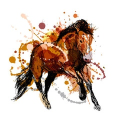 Colored hand sketch of a running horse vector image