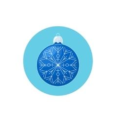 Colorful Icon Christmas Blue Ball with Snowflake vector image