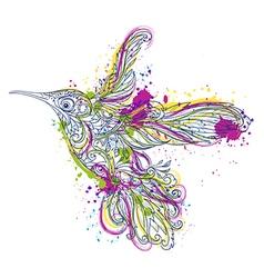 hummingbird floral ornament and watercolor splash vector image vector image