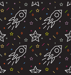 rocket seamless pattern with stars vector image vector image