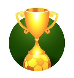 Soccer football ball trophy gold cup vector image vector image