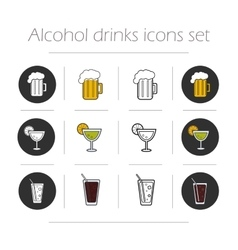 Alcoholic drinks icons set vector image vector image