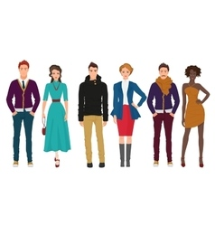 Handsome young guys with beautiful girls models vector image vector image