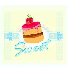 Lovely cake - Vintage Card Design vector image vector image
