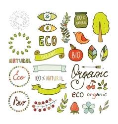 Modern hand drawn elements design organic vector image