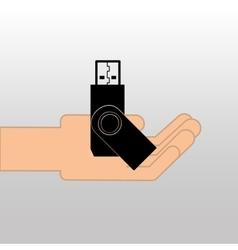 USB memory drive black icon design vector image