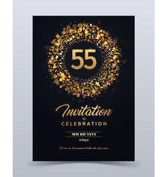 55 years anniversary invitation card template vector