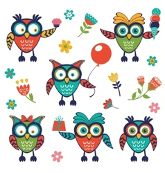 A stylish collection of cute funny owls vector