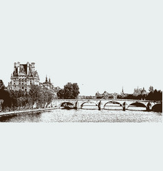 a view on river seine in paris vector image
