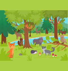 animals in forest background wild cute happy vector image