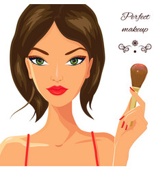 Attractive white woman applying blush fashion vector