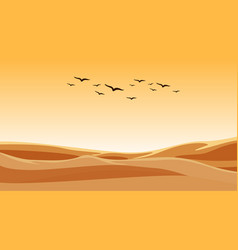 Background scene with birds flying over sand field vector