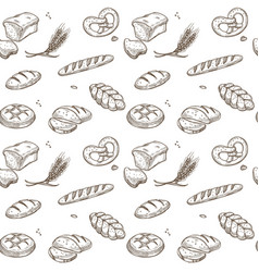 bakery bread cereals sketch pattern vector image