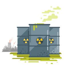 Barrels toxic waste vector