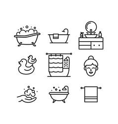 bath line art icons set editable stroke vector image