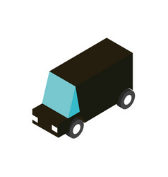 black truck transport vehicle isometric icon vector image