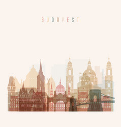 Budapest skyline detailed silhouette vector