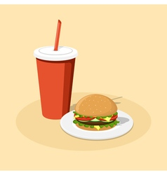 Burger and cola vector