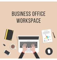 business office workspace with laptop vector image