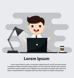 businessman sitting at desk and working on vector image
