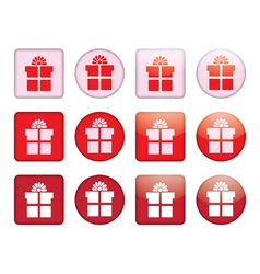 buttons with present box vector image