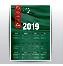 Calendar 2019 turkmenistan flag background vector