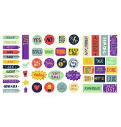 Calendar stickers cartoon agenda lettering and vector
