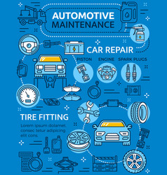 car repair service poster with vehicle and parts vector image