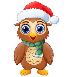 cartoon owl wearing santa hat vector image