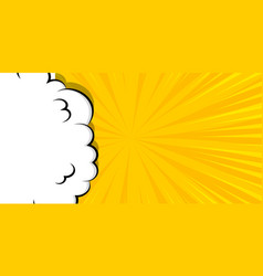 Cartoon puff cloud yellow background for text vector