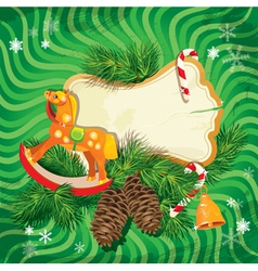 Christmas and New Year card with wooden horse vector image