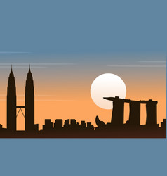 City tour malaysia with singapore scenery vector
