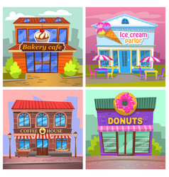 coffee house and donut shop ice cream parlor vector image