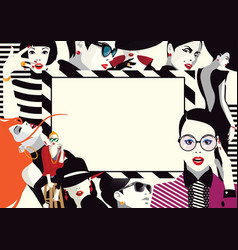 collage of fashionable girls in style pop art vector image